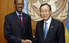 Rwanda President Paul Kagame (L) with the Secretary General of the United Nations Ban Ki-moon. Picture: AFP