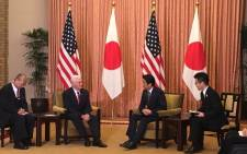 US Vice President Mike Pence during his meeting with Japanese Prime Minister Shinzo Abe. Picture: Twitter/@VP.
