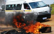 Burnt tyres during a service delivery protest. Picture:EWN