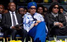 Deputy president David Mabuza is seen alongside Zenani and Zindzi Mandela during the memorial service for the late Winnie Madikizela Mandela at Orlando Stadium on Wednesday 11 April 2018. Picture: Ihsaan Haffejee/EWN