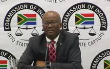 A video screengrab of National Treasury Director-General Dondo Mogajane at the state capture commission of inquiry on 23 November 2018.