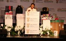 Basic Education Minister Angie Motshekga announces the national matric pass rate for 2015. Picture: Christa Eybers/EWN