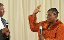 Newly appointed Minister of Communications Faith Muthambi takes the oath as she is sworn in as minister on 26 May 2014. Picture: GCIS
