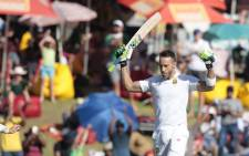 FILE: Proteas batsman Faf du Plessis celebrates after scoring a century. Picture: AFP