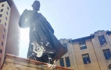 The defaced Gandhi statue in the Johannesburg CBD. Picture: Dineo Bendile/EWN.