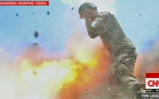 A screengrab of a mortar tube exploding during a US Army training exercise in Afghanistan.