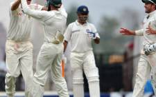 Former SA spinner Paul Harris celebrates taking a wicket. Picture: AFP