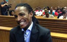 Kwaito star Brickz smiles as he appears in court for his bail hearing. Picture: Lesego Ngobeni/EWN.