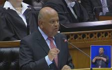 Finance Minister Pravin Gordhan presents mid-term budget policy statement. Picture: YouTube Screengrab.