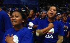DA supporters sing the national anthem during a rally in Bellville on 26 April 2014. Picture: Lauren Isaacs/EWN""