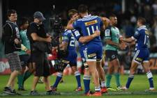 FILE: Stormers players celebrate beating the Waratahs at the end of the Super 15 rugby match between Waratahs and South Africa's Stormers at the Allianz Stadium in Sydney on 11 April, 2015. Picture: AFP.
