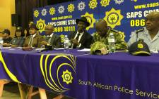 Police Minister Bheki Cele and national police commissioner Khehla Sitole address the media and various community organisations in Mitchells Plain on 29 November 2018. Picture: Lizell Persens/EWN