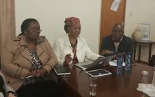 Gauteng Social Development MEC Nandi Mayathula-Khoza (C) at the Dr Fabian and Florence Ribeiro Treatment Center in Pretoria. Picture: @GautengProvince.