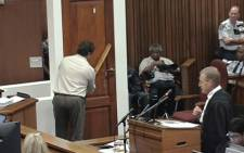 Colonel Johannes Vermeulen demonstrates how Oscar Pistorius might have used a cricket bat to break down the door through which he shot and killed Reeva Steenkamp in February 2013.