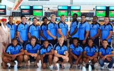 Springbok Sevens at the Cape Town International Airport. Picture: Supplied