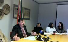 Education MEC Donald Grant briefed reporters on the possible closure of 27 institutions across the Western Cape on 20 June 2012. Picture: Malungelo Booi/EWN