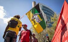 FILE: An ANC flag is flown during a march. Picture: Thomas Holder/EWN