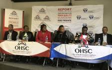 The Office of Health Standards Compliance briefing media on its 2016/17 inspection report in Pretoria. Picture: Masego Rahlaga/EWN.