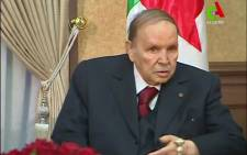 """A video grab taken from footage broadcast by Algeria's """"Canal Algerie"""" on 11 March 2019 shows Algerian President Abdelaziz Bouteflika meeting with members of his government in the capital Algiers. Picture: AFP"""