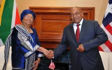 President Jacob Zuma and his Liberian counterpart Ellen Johnson Sirleaf at the Union Buildings. Picture: GCIS.