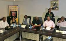 President Jacob Zuma shares a joke with members of the ANC NEC, SAPC and Cosatu at Luthuli House in Johannesburg. Picture: Katleho Sekhotho/EWN