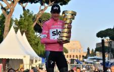 FILE: Team Sky rider Chris Froome celebrates overall victory in the 2018 Giro d'Italia on 27 May 2018. Picture: @giroditalia/Twitter