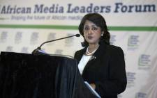 In this file photo taken on 12 November 2015 Mauritian President Ameenah Gurib-Fakim opens the African Media Leaders Forum in Johannesburg. Picture: AFP