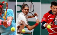 FILE: Rafael Nadal, Novak Djokovic and Roger Federer, the three most successful men in Grand Slam tennis history, were on May 27, 2021, all drawn in the same half of the 2021 French Open. Picture: AFP