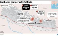 Map of Nepal locating the first quake Saturday, the strongest afterhocks. Graphic: AFP.
