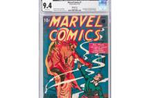This image courtesy of Heritage Auctions shows a copy of Marvel Comics No. 1, the 1939 comic book considered the 'Big Bang' of the Marvel Comics Superhero Universe. The comic book sold for $1,260,000 on 21 November 2019. Picture: AFP