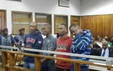 Mthinta Bhengu, Sifundo Mzimela, Sizwe Mngomezulu and Ayanda Sibiya are accused of stabbing Emmanuel Sithole to death made a brief court appearance at the Alexandra Magistrate Court on 21 April 2015. Picture: Kgothatso Mogale/EWN.