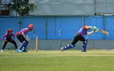 Afghanistan's national cricket team players attend a training session at the Kabul International Cricket Ground in Kabul on August 21, 2021, ahead of their one-day series against Pakistan, scheduled to take place in Sri Lanka in two weeks. HOSHANG HASHIMI / AFP