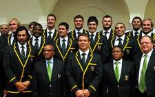 The Springboks pose with President Jacob Zuma and Sports Minister Fikile Mbalula ahead of their departure for New Zealand on 29 August 2011. Picture: GCIS