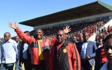 President Cyril Ramaphosa and Cosatu president Sdumo Dlamini arriving at Isaac Wolfson Stadium in Nelson Mandela Bay, Eastern Cape for May Day rally. Picture:  @_cosatu/Twitter.