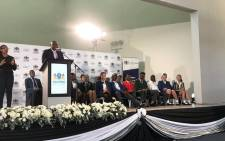 Gauteng Premier David Makhura addresses students after the release of the 2017 matric results. Picture: @GautengProvince/Twitter