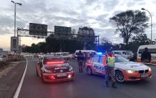 Metro police at the scene of a shooting on the M1 highway on Wednesday 18 April 2018. Picture: Twitter/@visiontactical