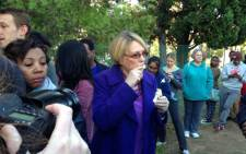 Democratic Alliance leader Helen Zille waits in a queue in Rondebosch to vote. Picture: Carmel Loggenberg/EWN.
