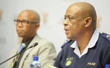 Deputy Police Minister Bongani Mkongi and Lieutenant-General Khombinkosi Jula (R) addressing the media in Cape Town on 7 September. Picture: SAPS.