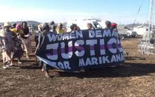 file: A group of women march at Marikana ahead of the anniversary at Lonmin's Marikana mine where 34 striking platinum workers were shot dead by police on 16 August 2012. Picture: Gia Nocolaides/EWN