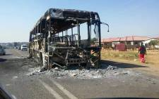 FILE: A bus was set alight and roads blocked in Hammanskraal following service delivery protests in the area. Picture: Arrive Alive.