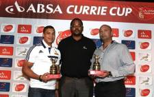 Absa Currie Cup Player of the Month Cheslin Kolbe (DHL Western Province), Batandwa Ntlabati (Marketing Manager KZN Absa Group Marketing & Communications) and Trevor Barnes (Sharks Team Manager). Picture: Howard Cleland