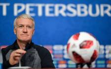 France's coach Didier Deschamps speaks to the media during a press conference at the Saint Petersburg Stadium in Saint Petersburg on 9 July 2018, on the eve of their Russia 2018 World Cup semi-final football match against Belgium. Picture: AFP.