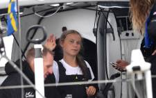 Swedish climate activist Greta Thunberg (16) arrives in the US after a 15-day journey crossing the Atlantic in the Malizia II, a zero-carbon yacht, on 28 August 2019 in New York. Picture: AFP