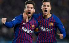 Barcelona's Lionel Messi and Philippe Coutinho celebrate their win over Manchester United in the UEFA Champions League on 16 April 2019. Picture: @ChampionsLeague/Twitter