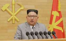 This picture from North Korea's official Korean Central News Agency (KCNA) taken and released on 1 January, 2018 shows North Korean leader Kim Jong-Un delivering a New Year's speech at an undisclosed location. Picture: AFP