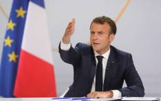 "French President Emmanuel Macron gestures during his live address following the ""Great National Debate"", at the Elysee Palace in Paris on 25 April 2019. Picture: AFP"