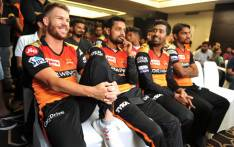 Sunrisers Hyderabad's David Warner (L) gestures while sitting with teammates during a press conference in Hyderabad on 20 March 2019, ahead of the start of the 2019 Indian Premier League (IPL) cricket tournament. Picture: AFP
