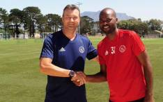 Ajax Cape Town caretaker coach Calvin Marlin with the club's new signing Rooi Mahamutsa. Picture: @ajaxcapetown/Twitter