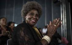 South African musician Dorothy Masuka reacts during a memorial for the late South African musician Hugh Ramapolo Masekela at the San Kopano Centre in Alexandra, Johannesburg on 26 January 2018. Picture: AFP