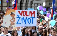 "People take part in the ""March for Life"", Croatia's fourth annual anti-abortion march in Zagreb on May 25, 2019. Picture: AFP."